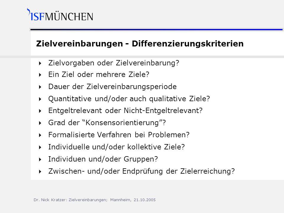 Zielvereinbarungen - Differenzierungskriterien