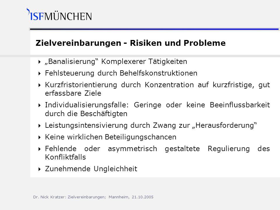 Zielvereinbarungen - Risiken und Probleme