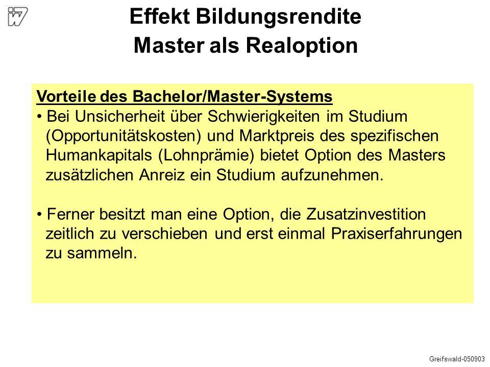 Effekt Bildungsrendite Master als Realoption