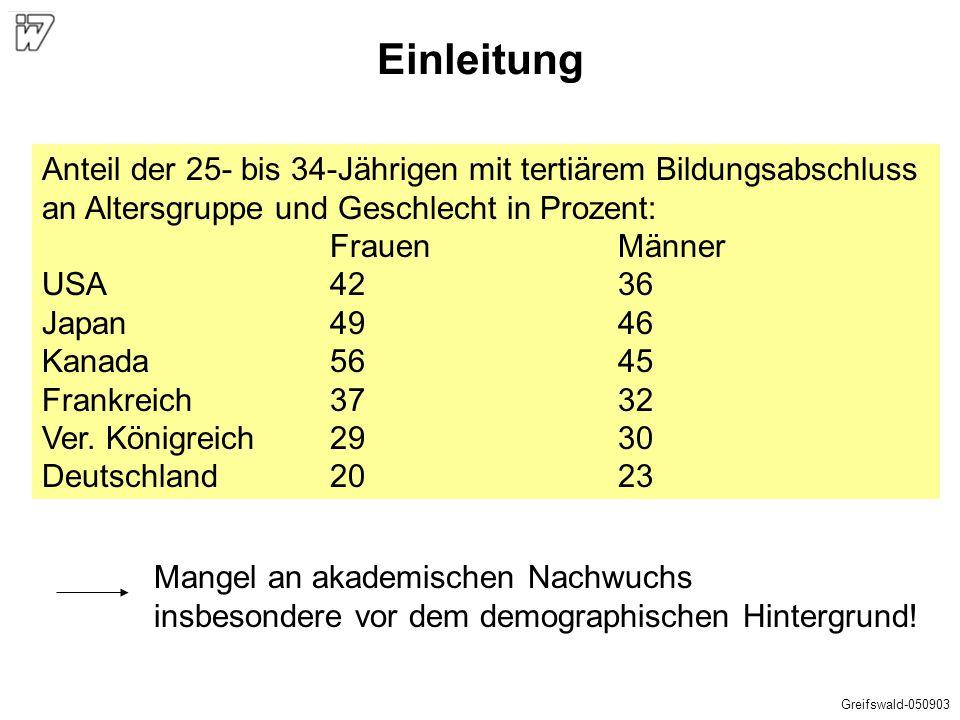 Einleitung Anteil der 25- bis 34-Jährigen mit tertiärem Bildungsabschluss. an Altersgruppe und Geschlecht in Prozent: