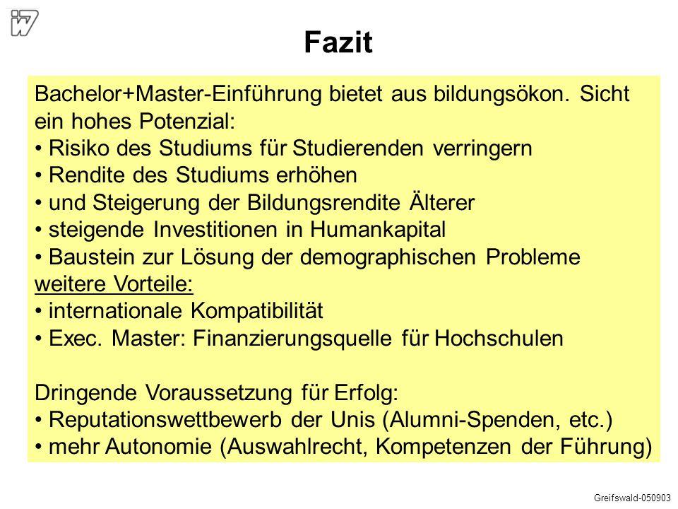 Fazit Bachelor+Master-Einführung bietet aus bildungsökon. Sicht