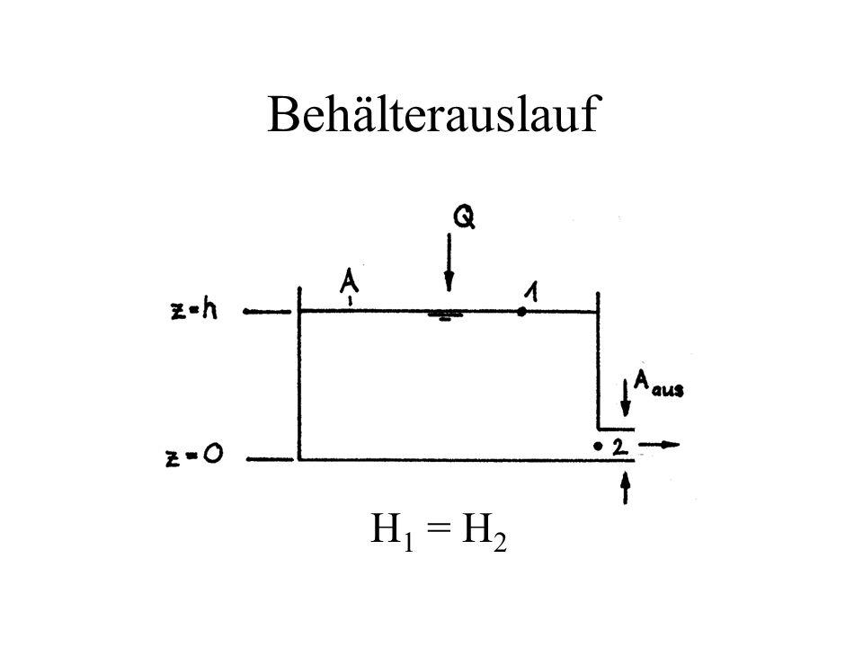 Behälterauslauf H1 = H2