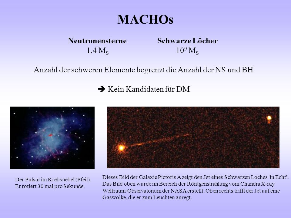 MACHOs Neutronensterne Schwarze Löcher 1,4 MS 109 MS