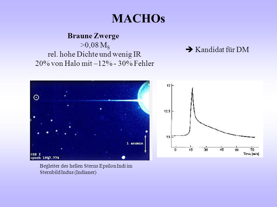 MACHOs Braune Zwerge >0,08 MS rel. hohe Dichte und wenig IR
