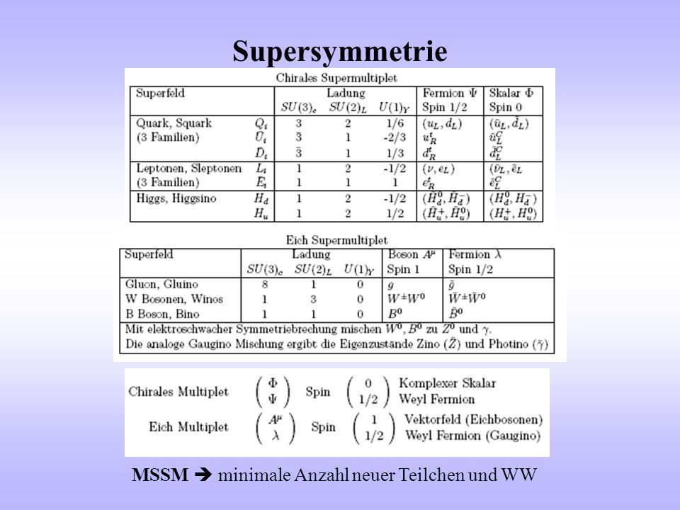 Supersymmetrie MSSM  minimale Anzahl neuer Teilchen und WW