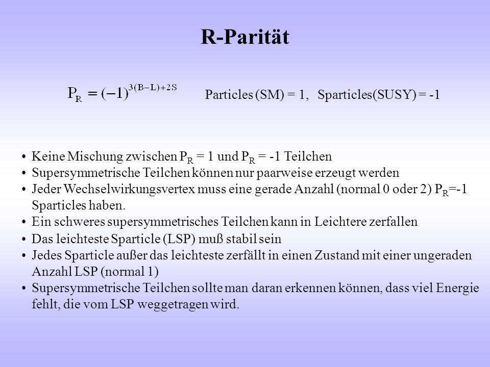 R-Parität Particles (SM) = 1, Sparticles(SUSY) = -1