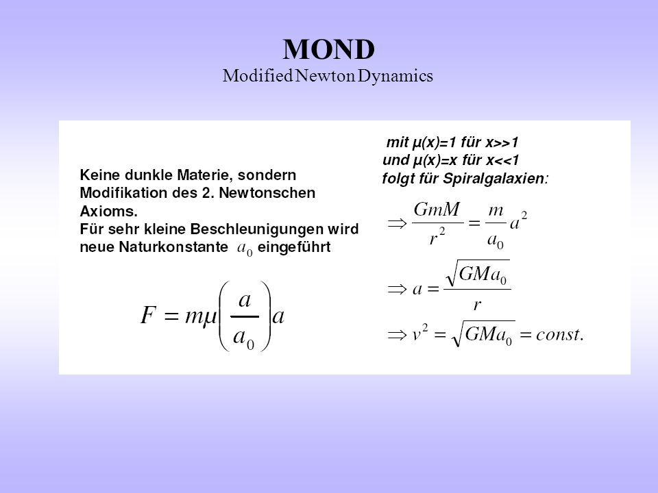 MOND Modified Newton Dynamics