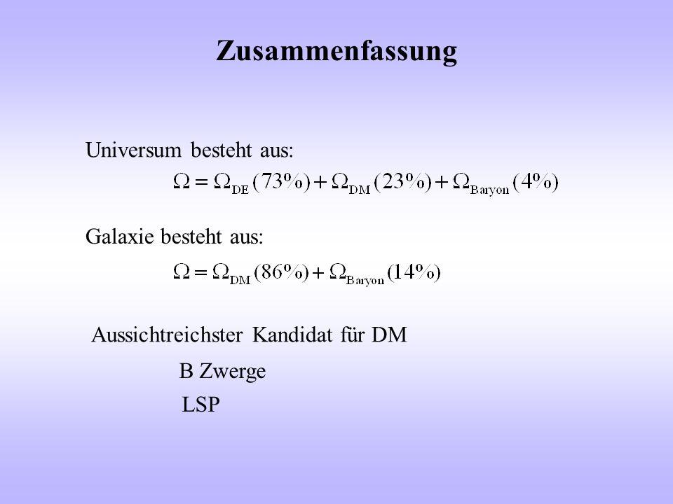 Zusammenfassung Universum besteht aus: Galaxie besteht aus: