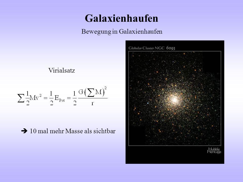Galaxienhaufen Bewegung in Galaxienhaufen Virialsatz