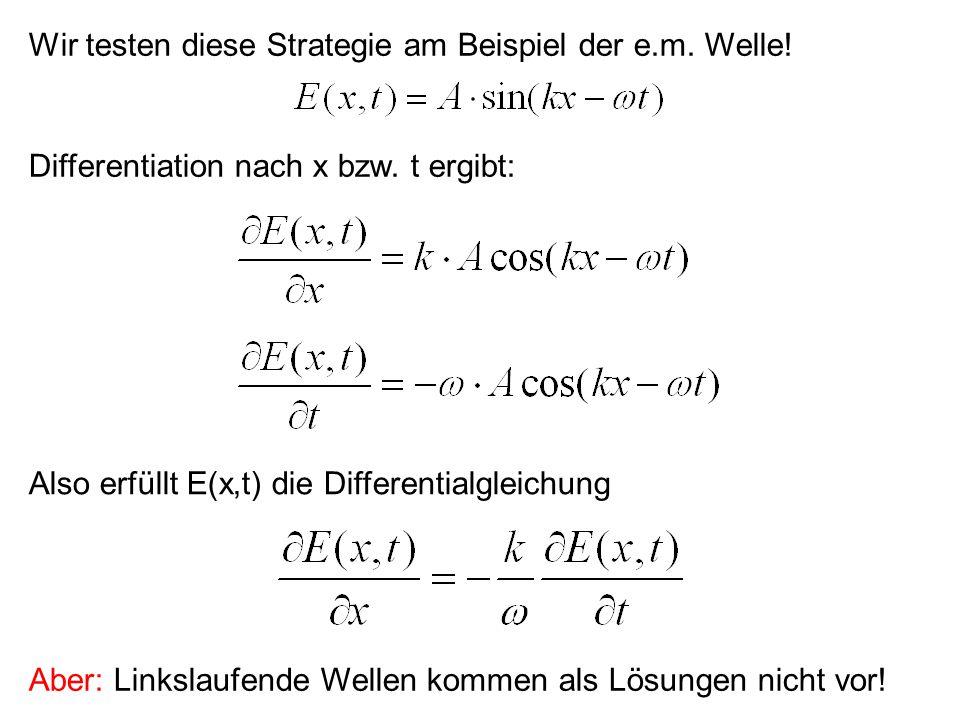 Wir testen diese Strategie am Beispiel der e.m. Welle!