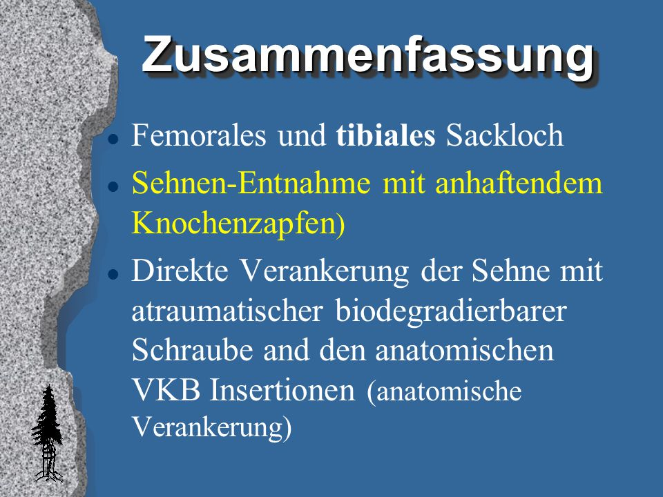 Zusammenfassung Femorales und tibiales Sackloch