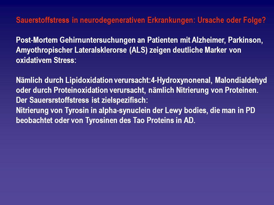 Sauerstoffstress in neurodegenerativen Erkrankungen: Ursache oder Folge
