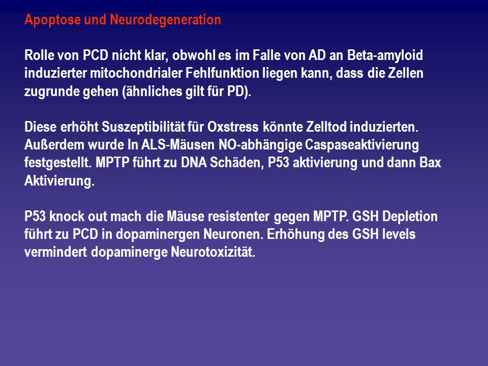 Apoptose und Neurodegeneration