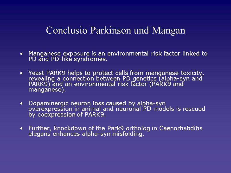 Conclusio Parkinson und Mangan