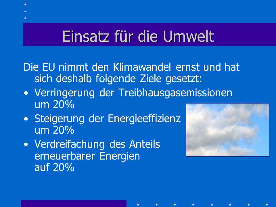 Einsatz für die Umwelt Die EU nimmt den Klimawandel ernst und hat sich deshalb folgende Ziele gesetzt: