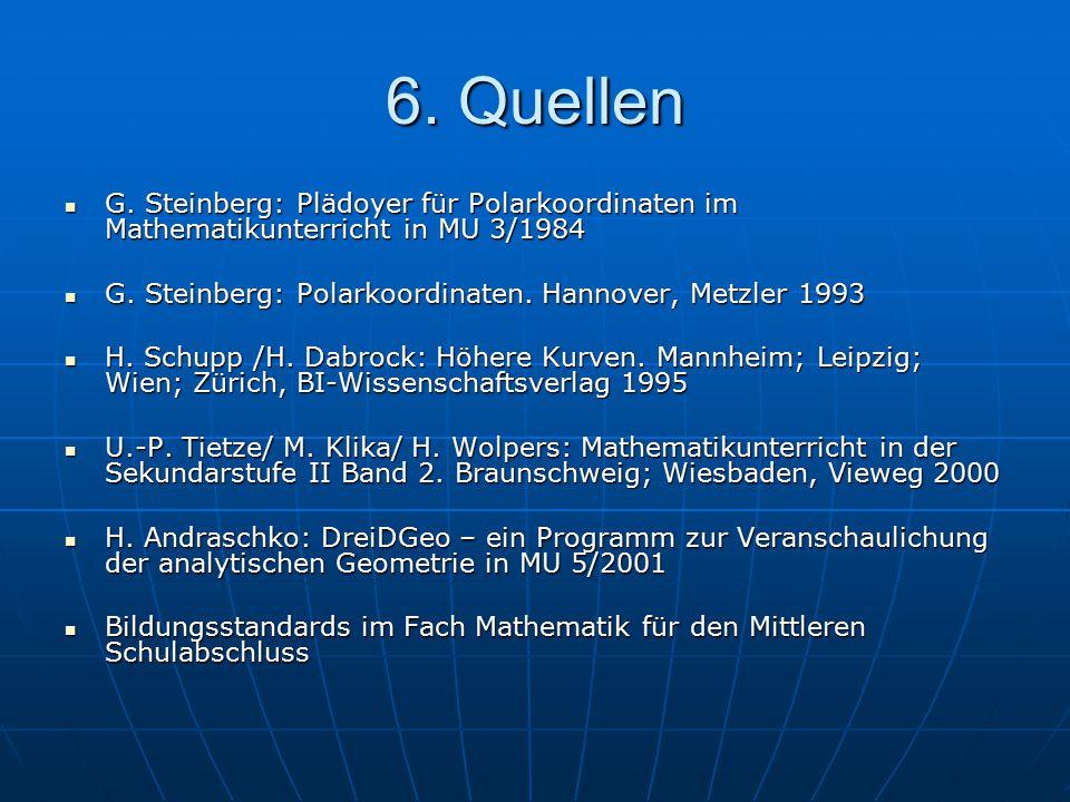 6. Quellen G. Steinberg: Plädoyer für Polarkoordinaten im Mathematikunterricht in MU 3/1984. G. Steinberg: Polarkoordinaten. Hannover, Metzler 1993.