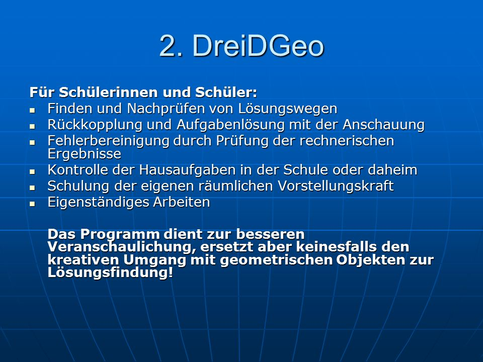 2. DreiDGeo Für Schülerinnen und Schüler: