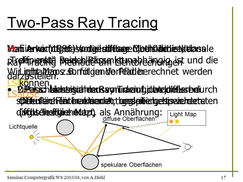 """Two-Pass Ray Tracing Man erkennt, dass die diffuse Oberfläche der """"Treffpunkt beider Pässe ist. Wir erhalten z.B. folgende Pfade:"""