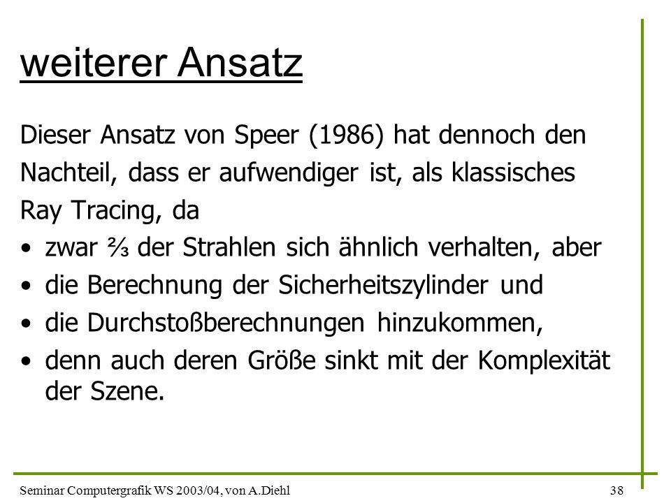 weiterer Ansatz Dieser Ansatz von Speer (1986) hat dennoch den