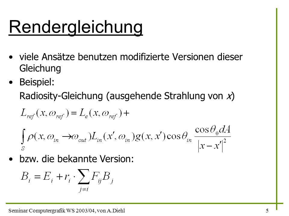 Rendergleichung viele Ansätze benutzen modifizierte Versionen dieser Gleichung. Beispiel: Radiosity-Gleichung (ausgehende Strahlung von x)