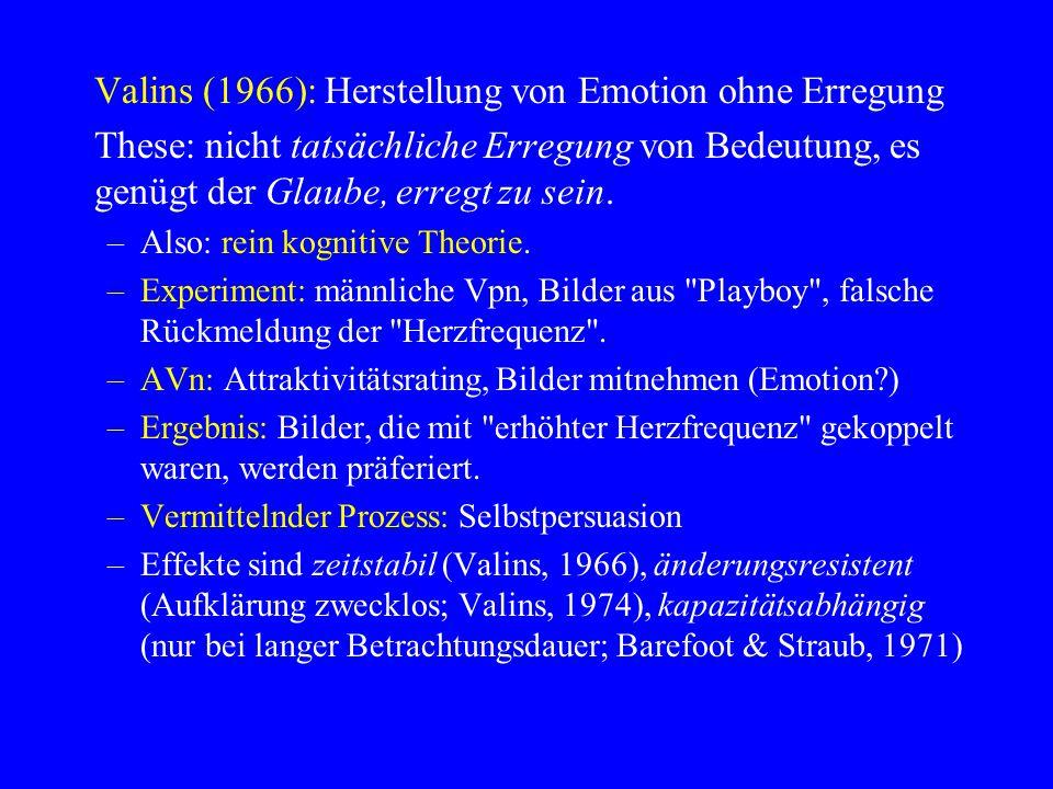 Valins (1966): Herstellung von Emotion ohne Erregung