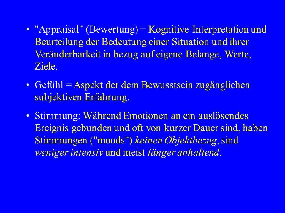 Appraisal (Bewertung) = Kognitive Interpretation und Beurteilung der Bedeutung einer Situation und ihrer Veränderbarkeit in bezug auf eigene Belange, Werte, Ziele.