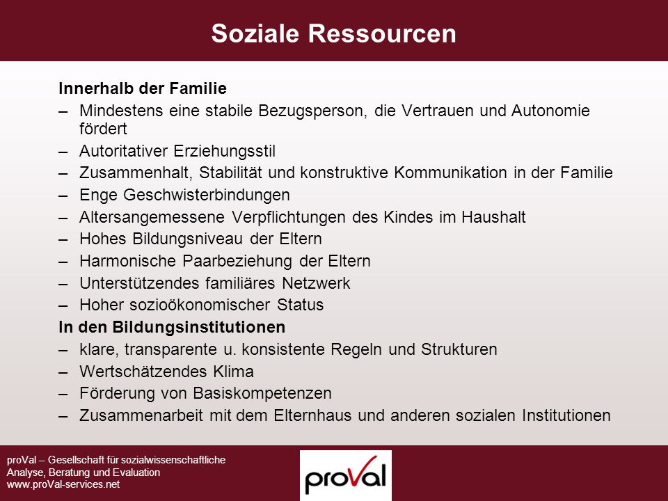 Soziale Ressourcen Innerhalb der Familie