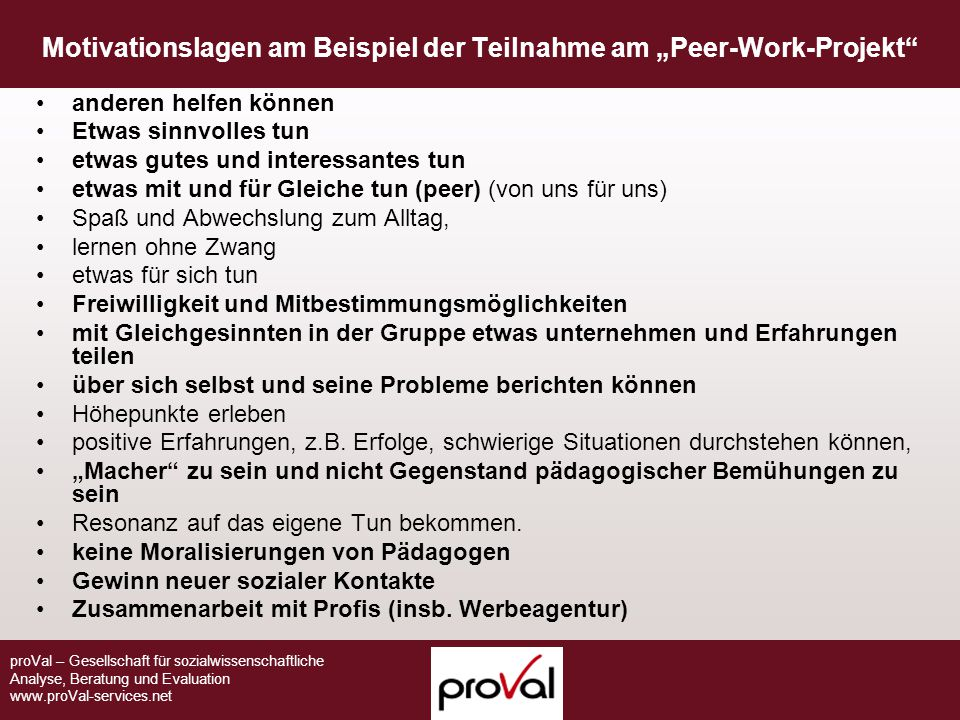 "Motivationslagen am Beispiel der Teilnahme am ""Peer-Work-Projekt"