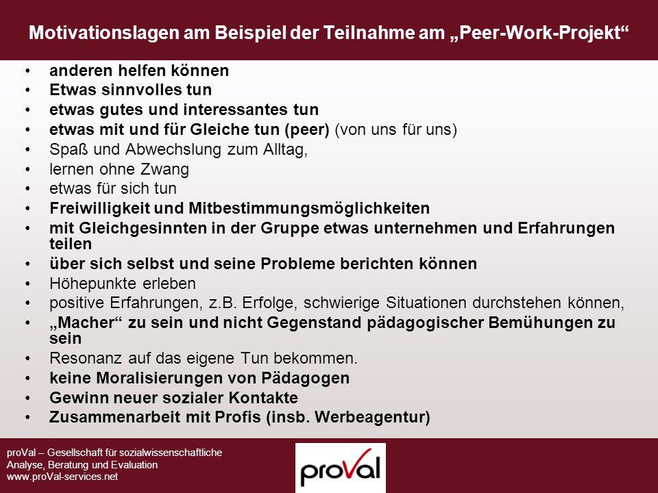 """Motivationslagen am Beispiel der Teilnahme am """"Peer-Work-Projekt"""
