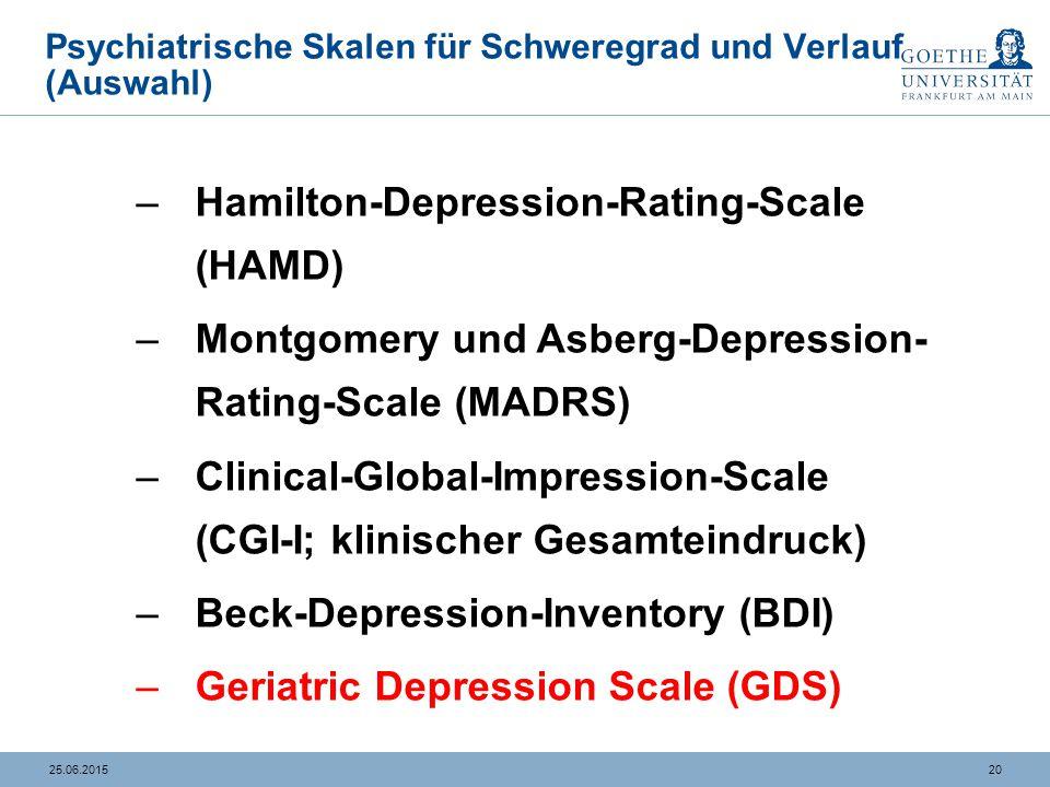 Geriatrische Depressionsskala (Sheik, Yesavage et al. 1986)