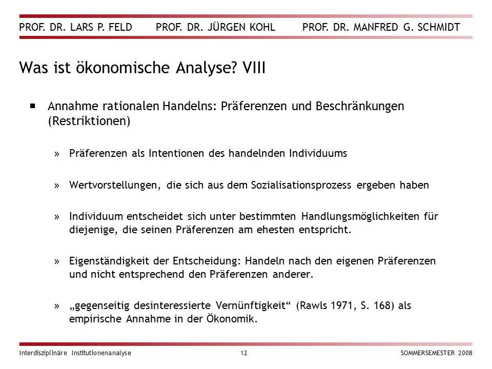 Was ist ökonomische Analyse VIII