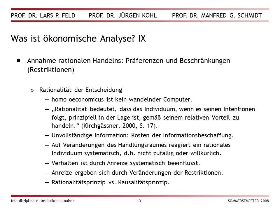 Was ist ökonomische Analyse IX