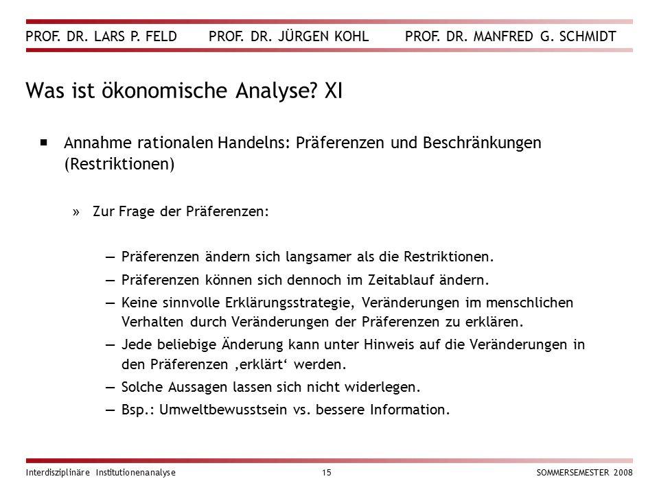Was ist ökonomische Analyse XI
