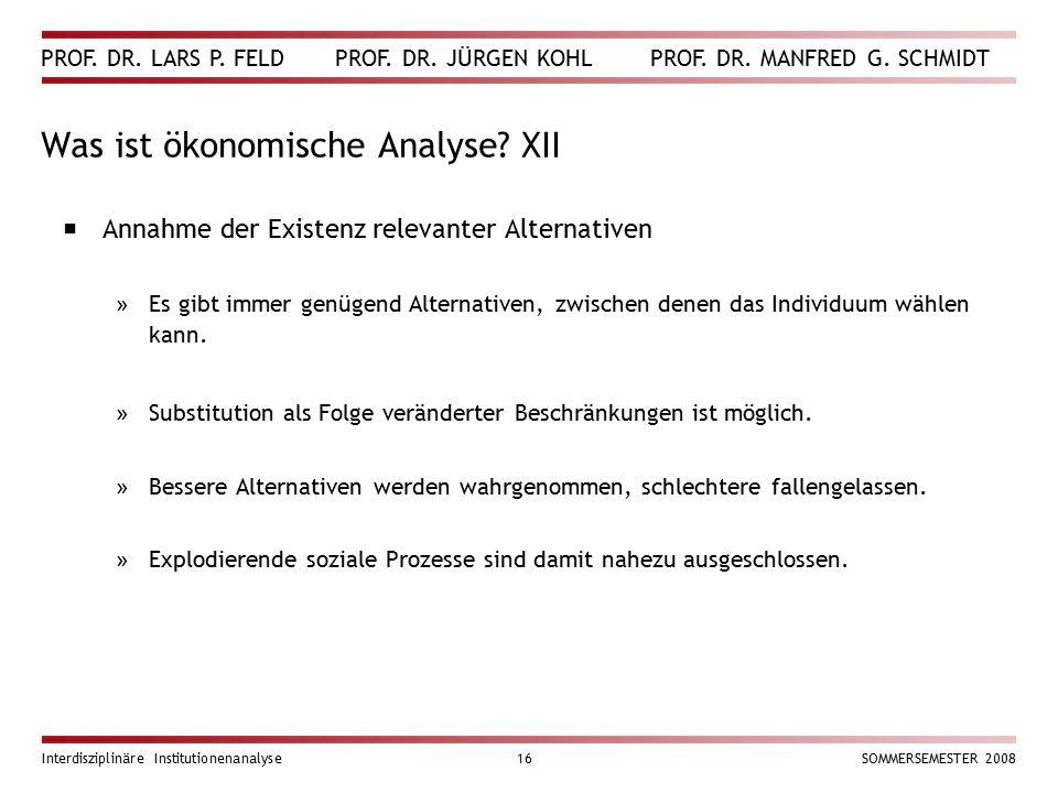 Was ist ökonomische Analyse XII