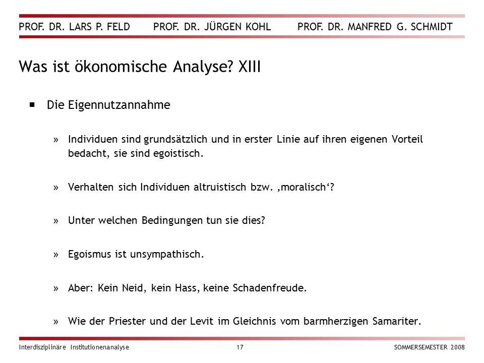 Was ist ökonomische Analyse XIII
