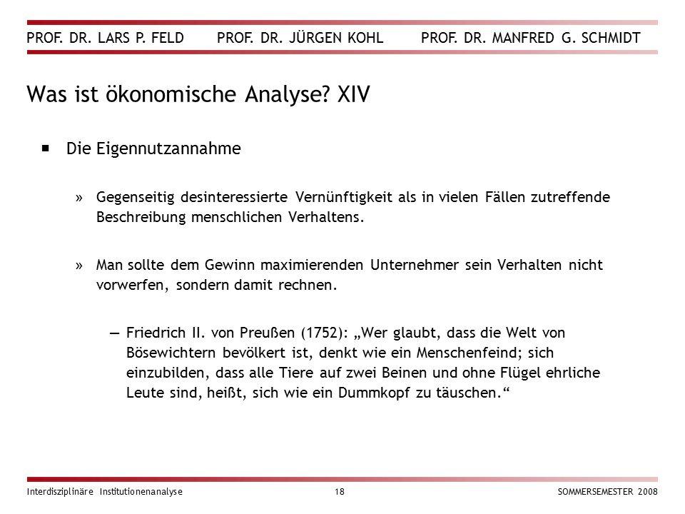 Was ist ökonomische Analyse XIV