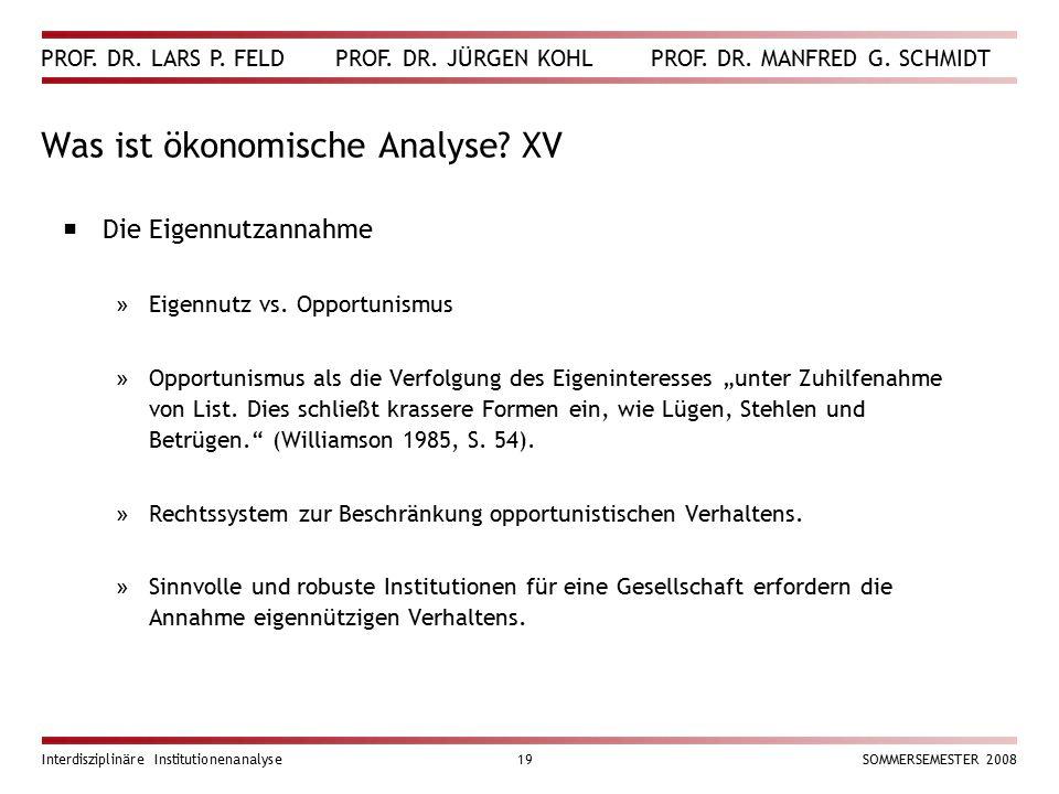 Was ist ökonomische Analyse XV
