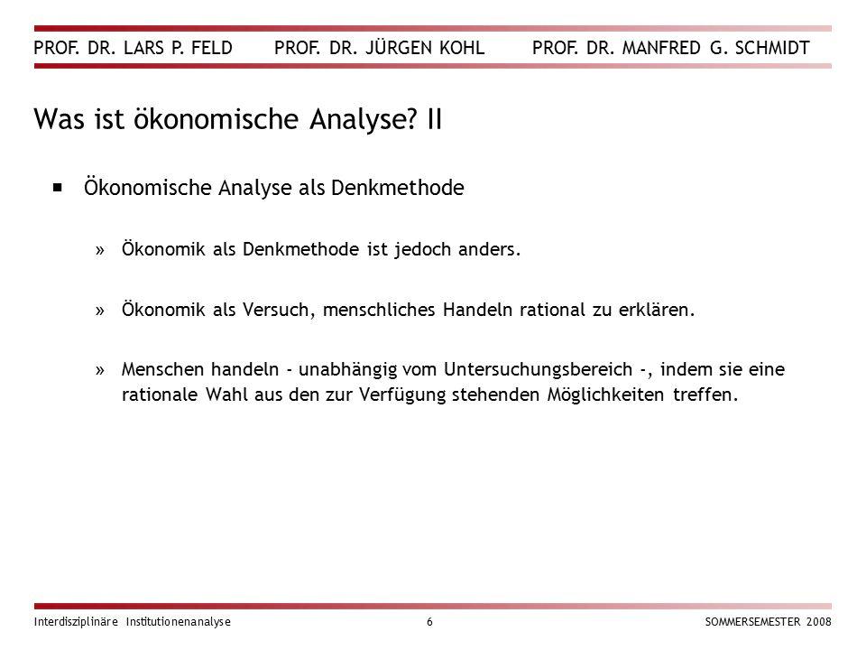 Was ist ökonomische Analyse II