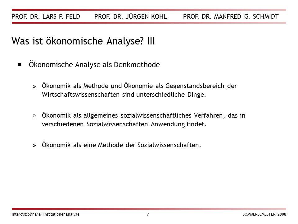 Was ist ökonomische Analyse III