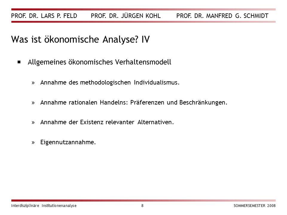 Was ist ökonomische Analyse IV