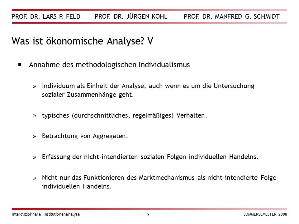 Was ist ökonomische Analyse V