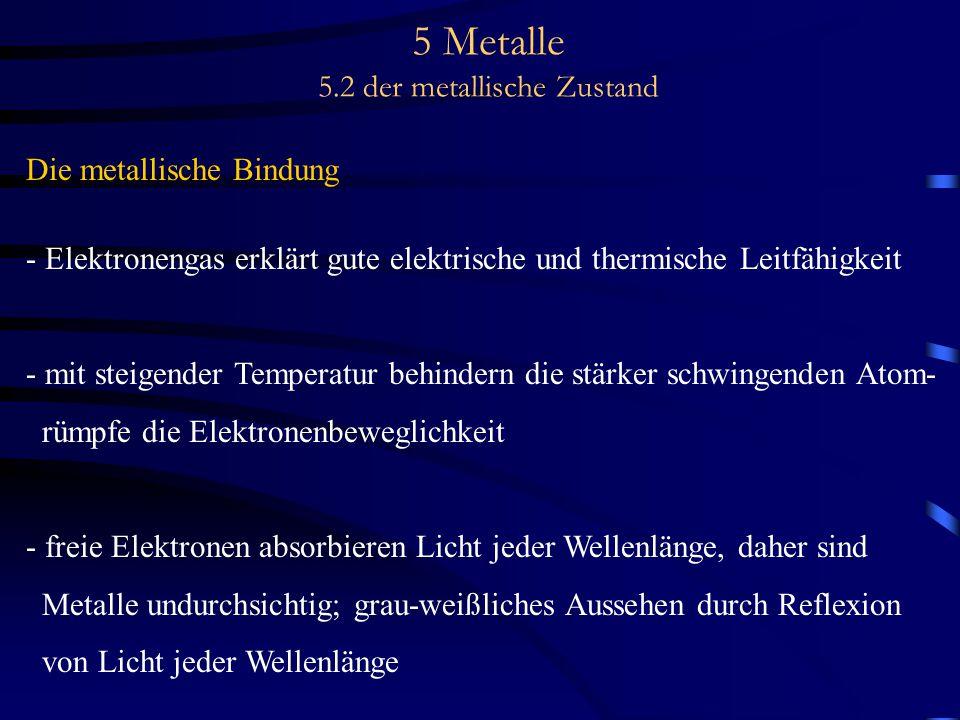 5 Metalle 5.2 der metallische Zustand