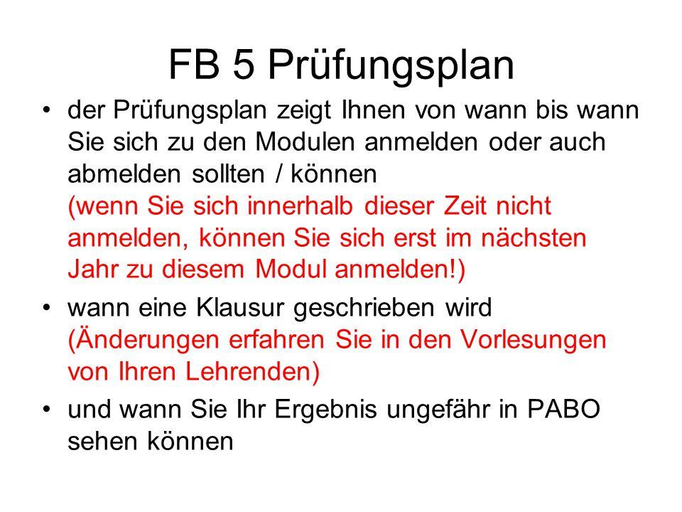 FB 5 Prüfungsplan