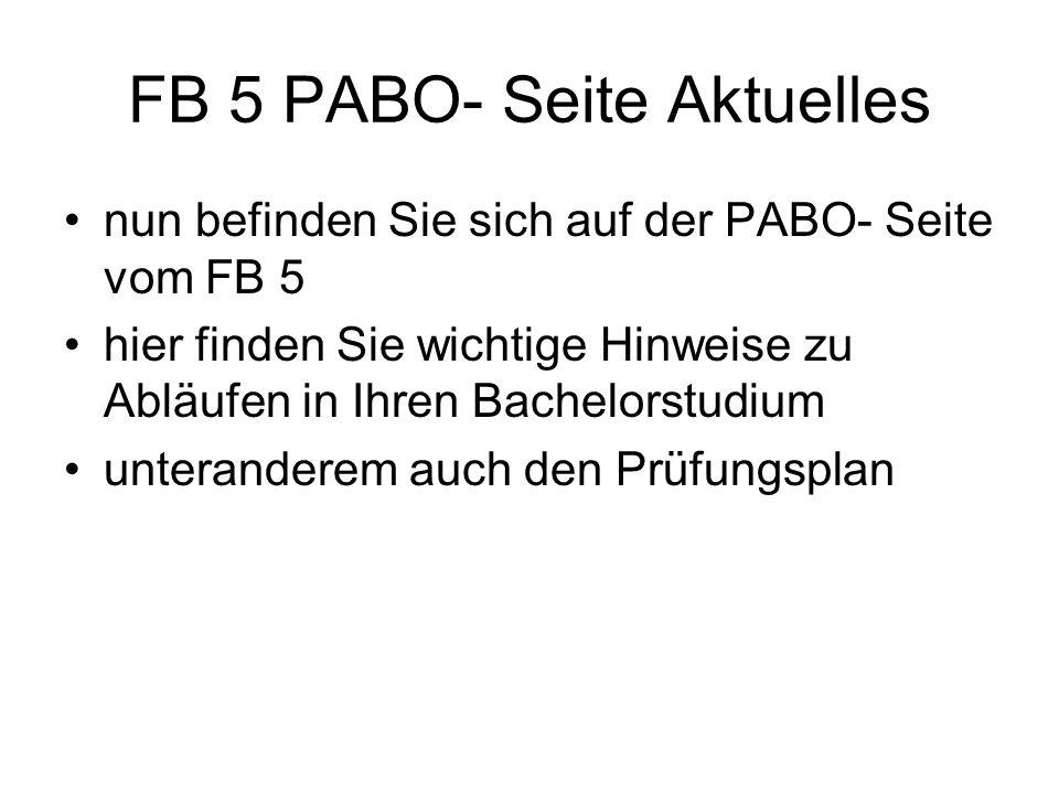 FB 5 PABO- Seite Aktuelles