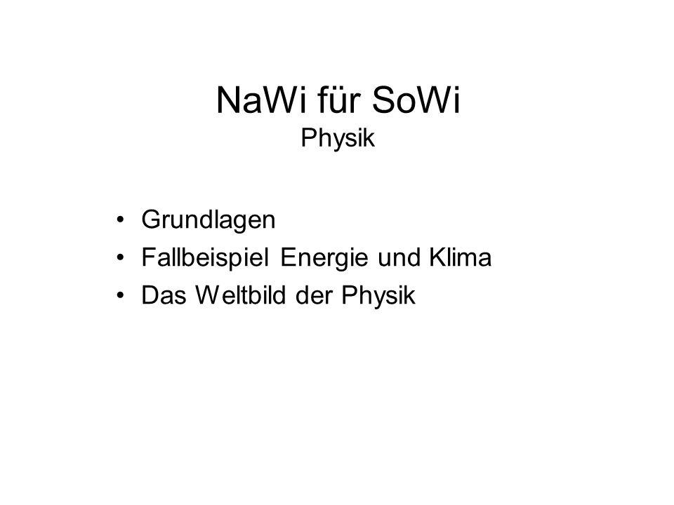 NaWi für SoWi Physik Grundlagen Fallbeispiel Energie und Klima