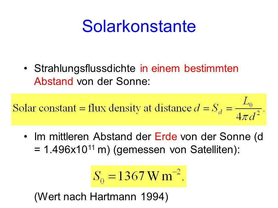 Solarkonstante Strahlungsflussdichte in einem bestimmten Abstand von der Sonne: