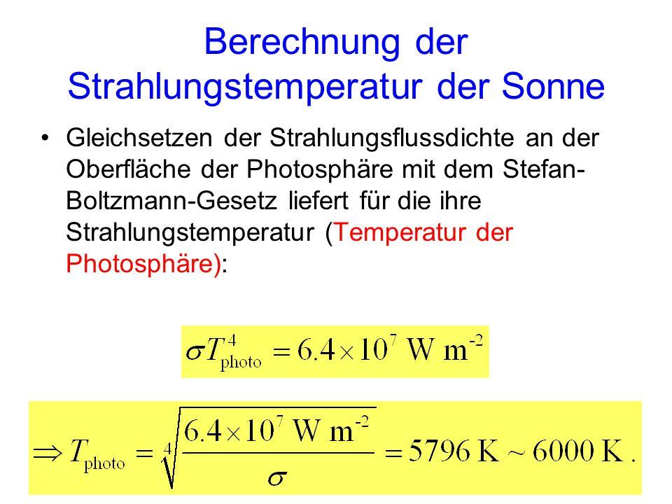 Berechnung der Strahlungstemperatur der Sonne