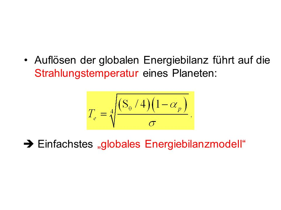 " Einfachstes ""globales Energiebilanzmodell"