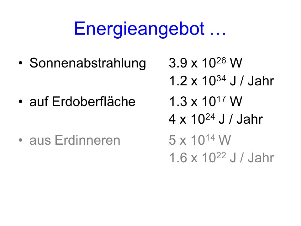Energieangebot … Sonnenabstrahlung 3.9 x 1026 W 1.2 x 1034 J / Jahr