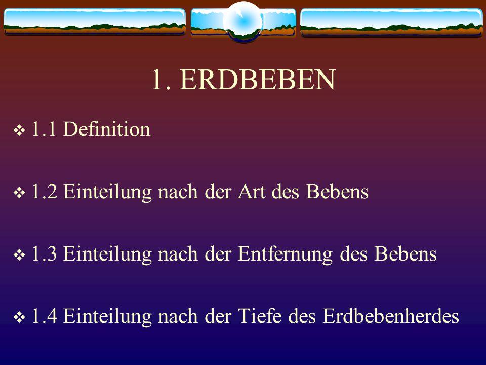 1. ERDBEBEN 1.1 Definition 1.2 Einteilung nach der Art des Bebens